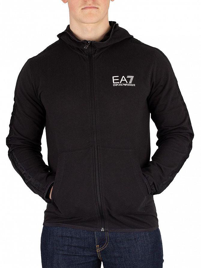 EA7 Black Logo Zip Hoodie