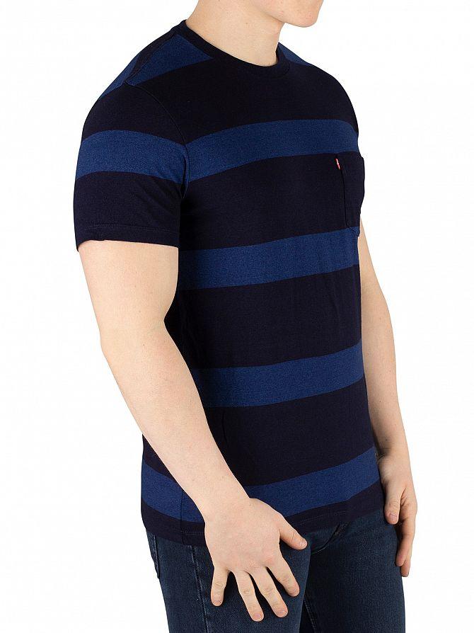 Levi's Boink Stripe Blue Setin Sunset Pocket T-Shirt