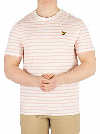 Lyle & Scott Snow White/Coral Way Breton Stripe T-Shirt