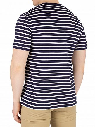 Lyle & Scott Navy/Snow White Breton Stripe T-Shirt