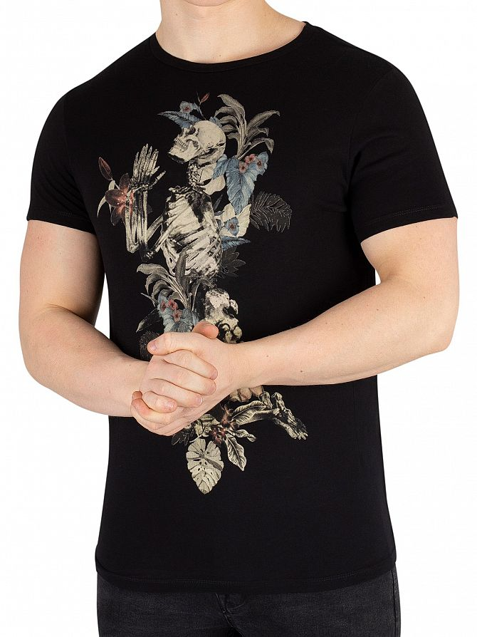Religion Black Hand Draw Flower Skeleton T-Shirt
