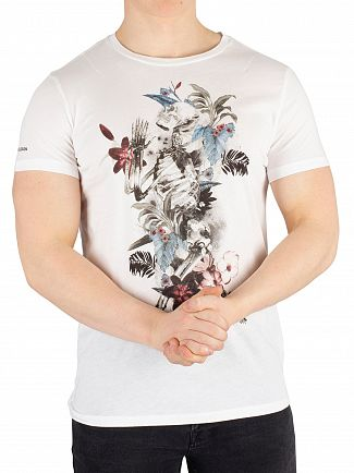 Religion White Hand Draw Flower Skeleton T-Shirt