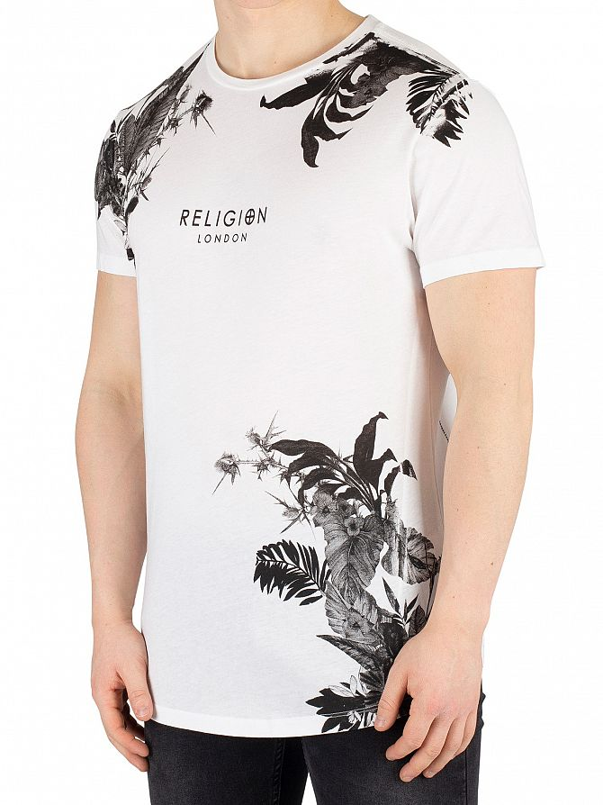 Religion Black/White Hawaiian Curved Hem T-Shirt