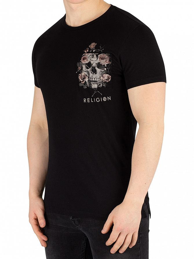 Religion Black Pocket Print T-Shirt