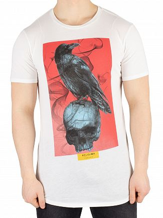 Religion White Skull Crow Curved Hem T-Shirt