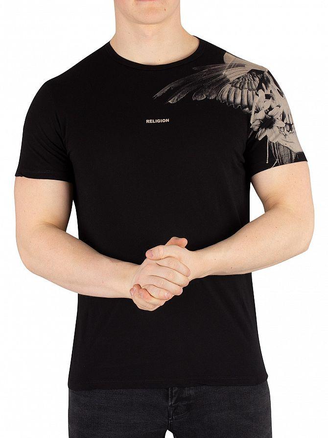 Religion Black Skull Wings T-Shirt
