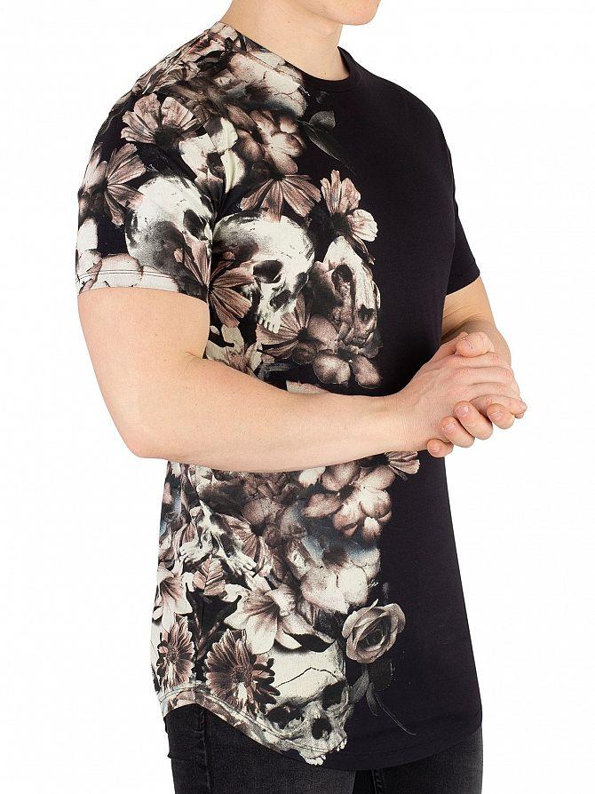 Religion Black Wild Night Curve Hem T-Shirt
