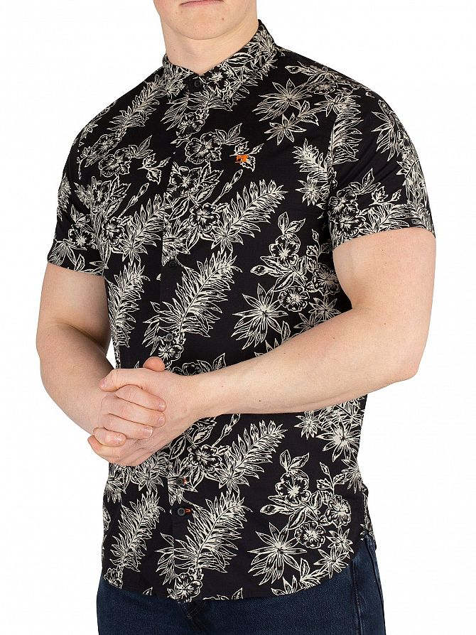 Scotch & Soda Black Printed Hawaii Shortsleeved Shirt