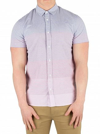 Scotch & Soda Blue/Pink Striped Shortsleeved Shirt
