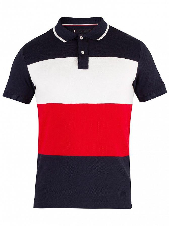Tommy Hilfiger Mens Icon Colourblock Slim Poloshirt Blue