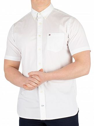 Tommy Hilfiger Bright White Stretch Poplin Shortsleeved Shirt