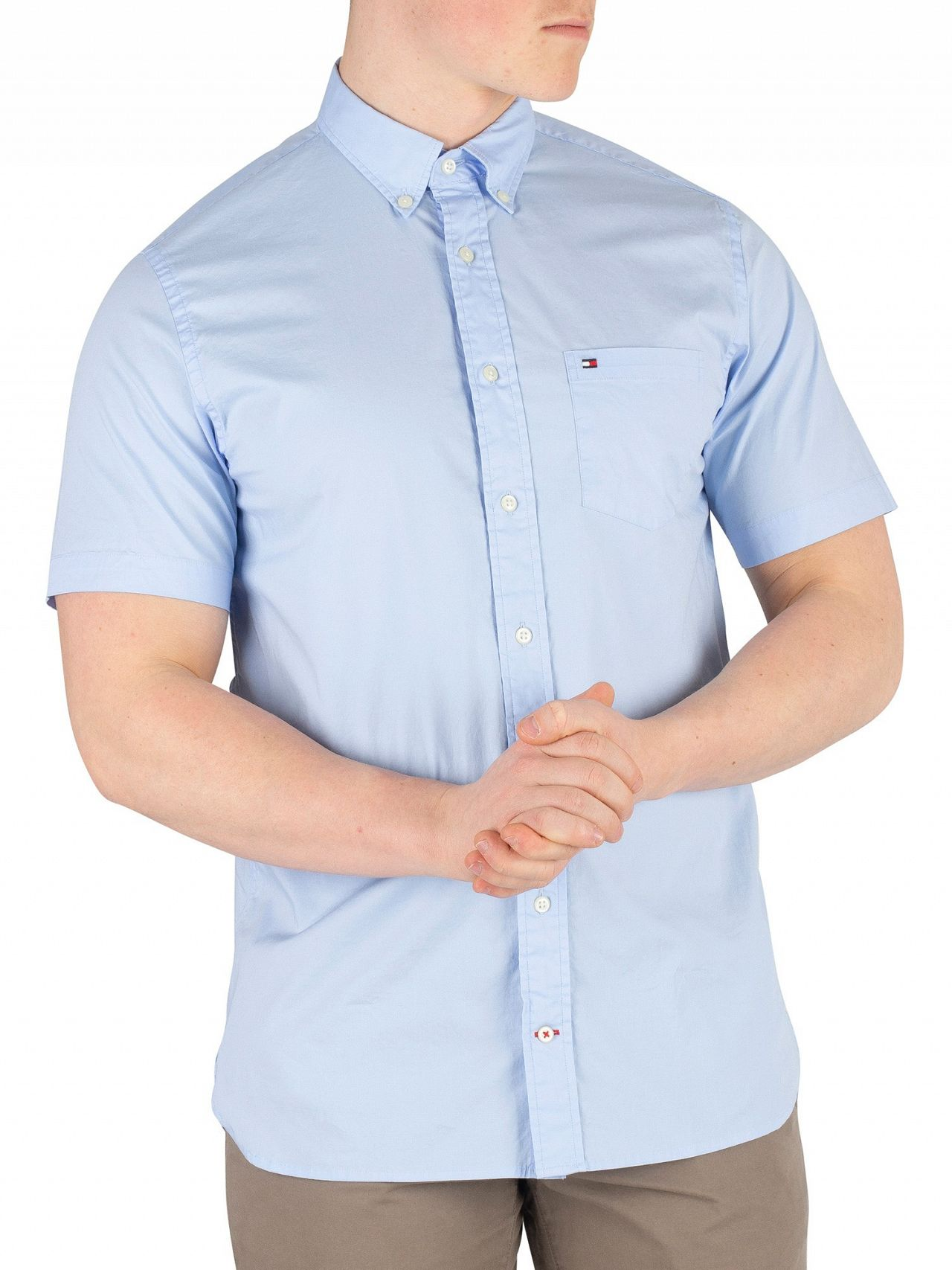 a392e3f0c Tommy Hilfiger Light Blue Stretch Poplin Shortsleeved Shirt. Tap to expand