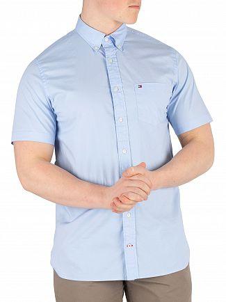 Tommy Hilfiger Light Blue Stretch Poplin Shortsleeved Shirt