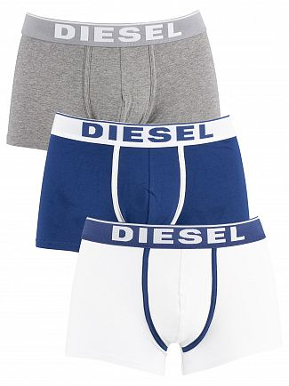 Diesel White/Blue/Grey 3 Pack Fresh & Bright Trunks