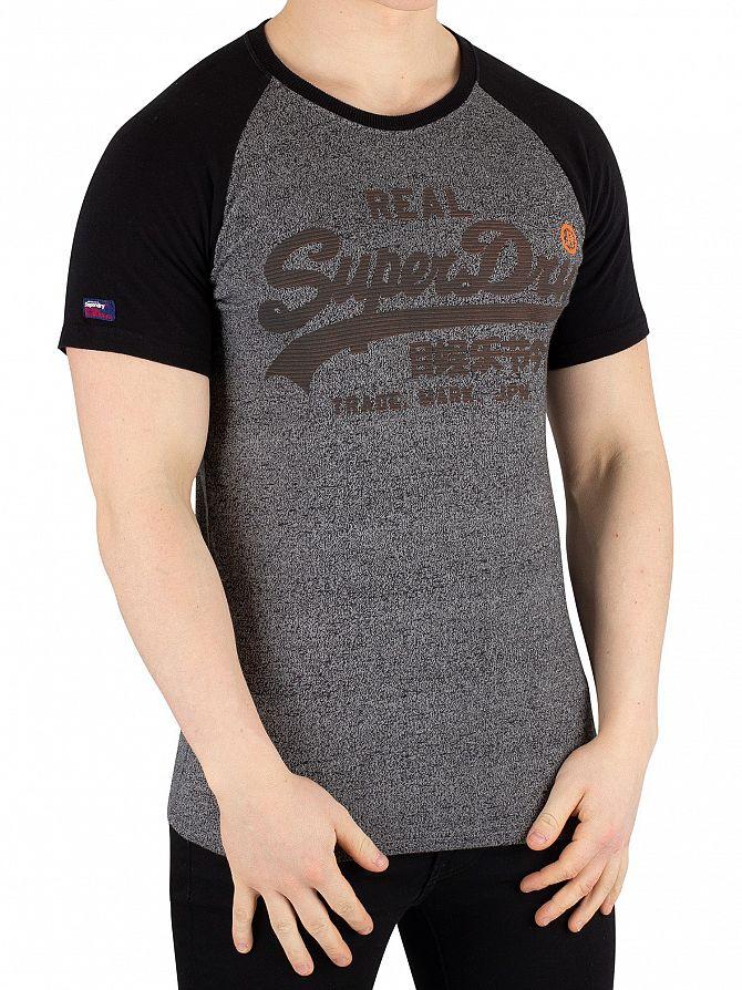 Superdry Black Grit Vintage Logo 1st Raglan T-Shirt