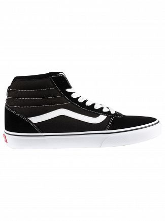 Vans Black/White Ward Hi Suede Canvas Trainers