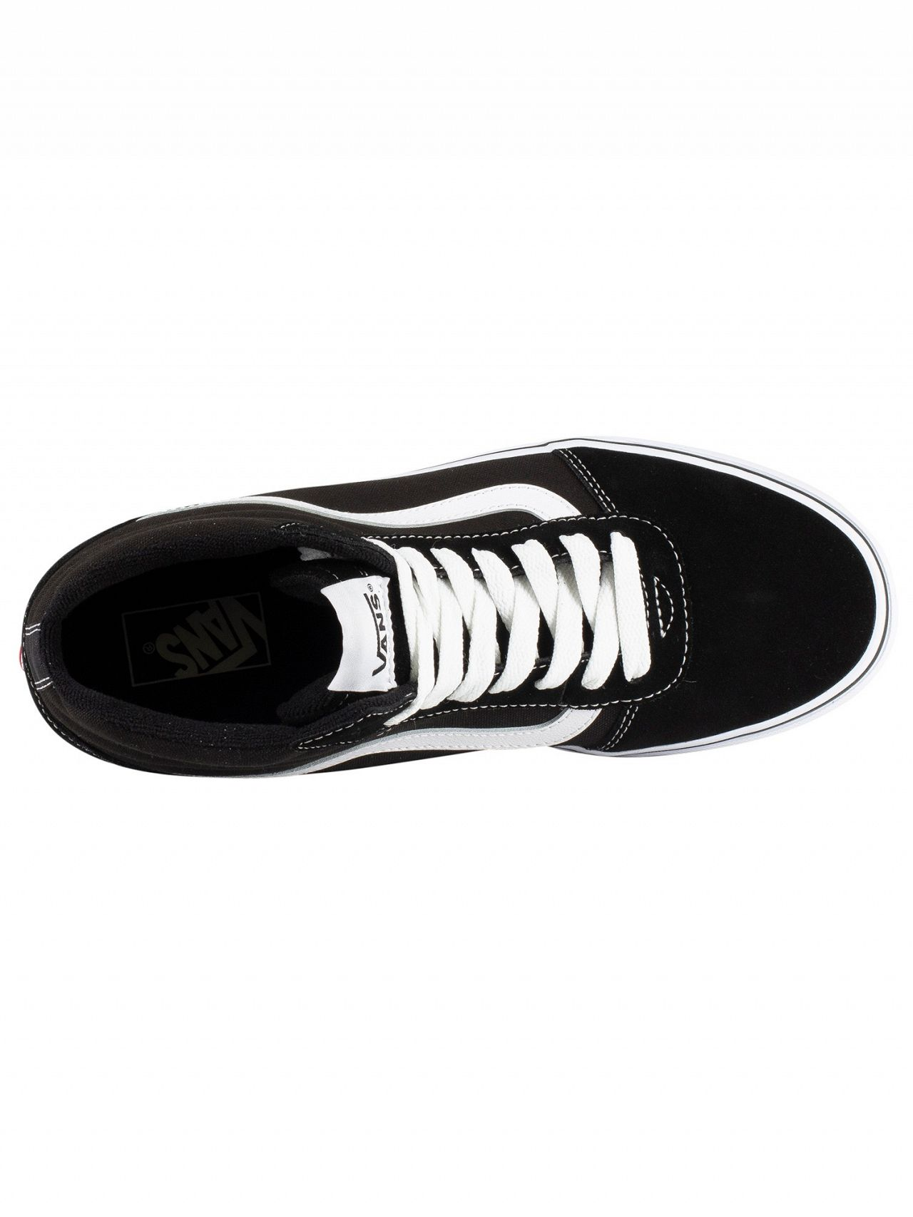 6aa4b110720 Vans Black White Ward Hi Suede Canvas Trainers
