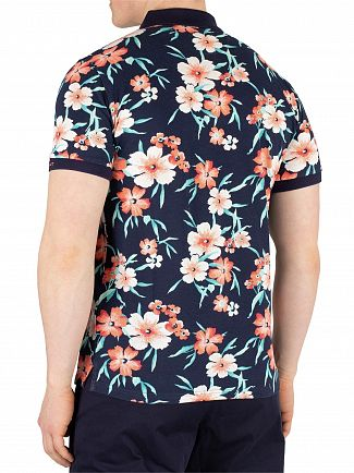 Gant Evening Blue All Over Floral Pique Rugger Poloshirt