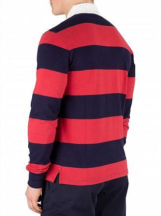Gant Cardinal Red Barstripe Longsleeved Rugger Poloshirt