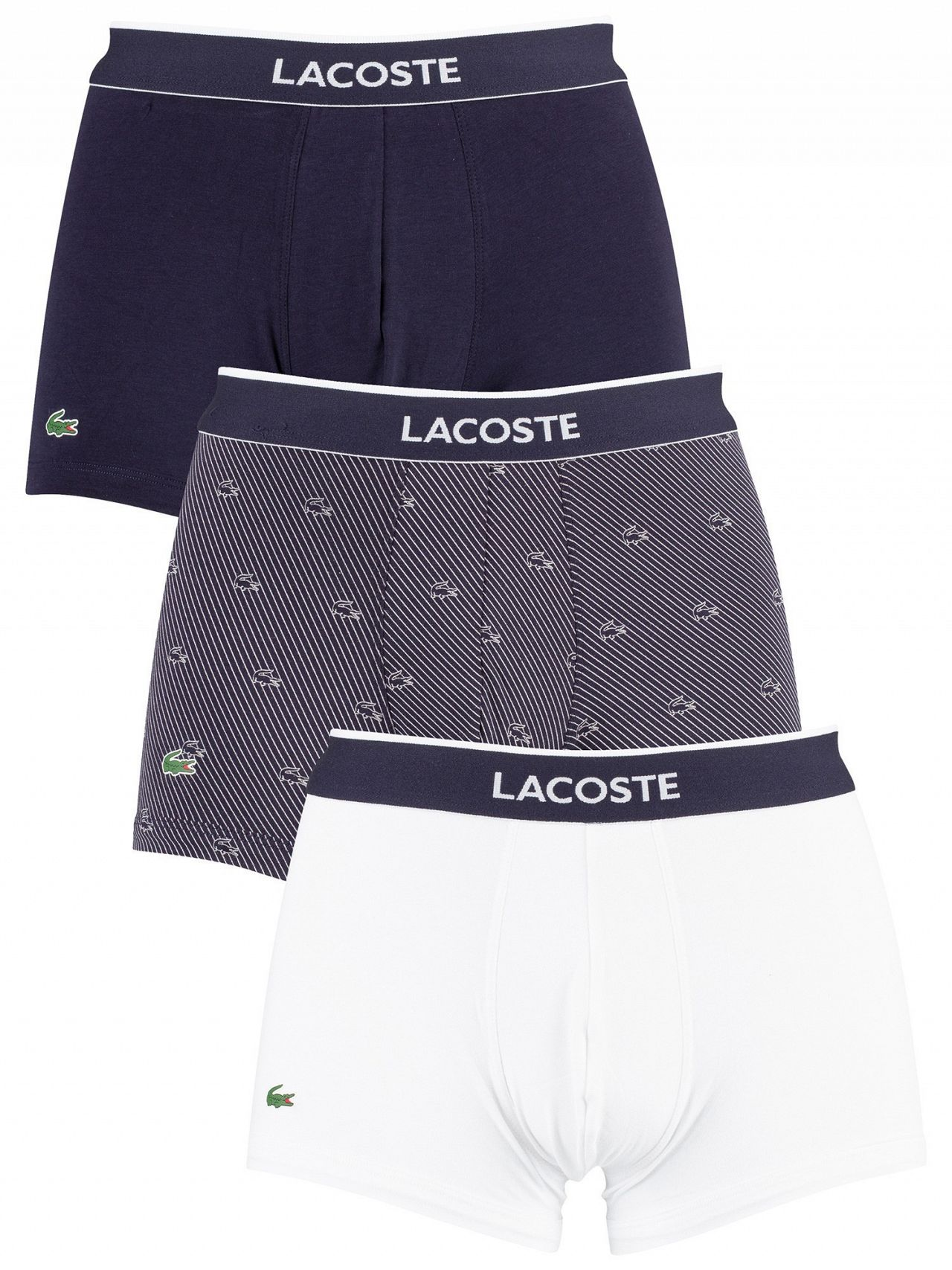 b00fa719 Lacoste White/Striped/Navy 3 Pack Cotton Stretch Trunks