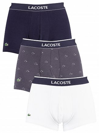 Lacoste White/Striped/Navy 3 Pack Cotton Stretch Trunks