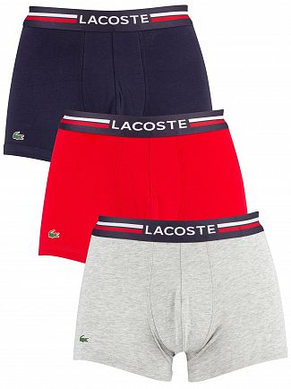 Lacoste Grey/Red/Navy 3 Pack Cotton Stretch Trunks