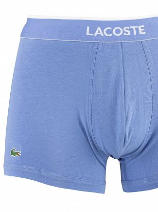 Lacoste Light Blue/Dark Blue/Navy 3 Pack Cotton Stretch Trunks