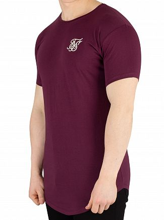 Sik Silk Burgundy Curved Hem T-Shirt