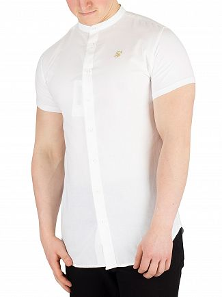 Sik Silk White/Gold Grandad Shortsleeved Shirt