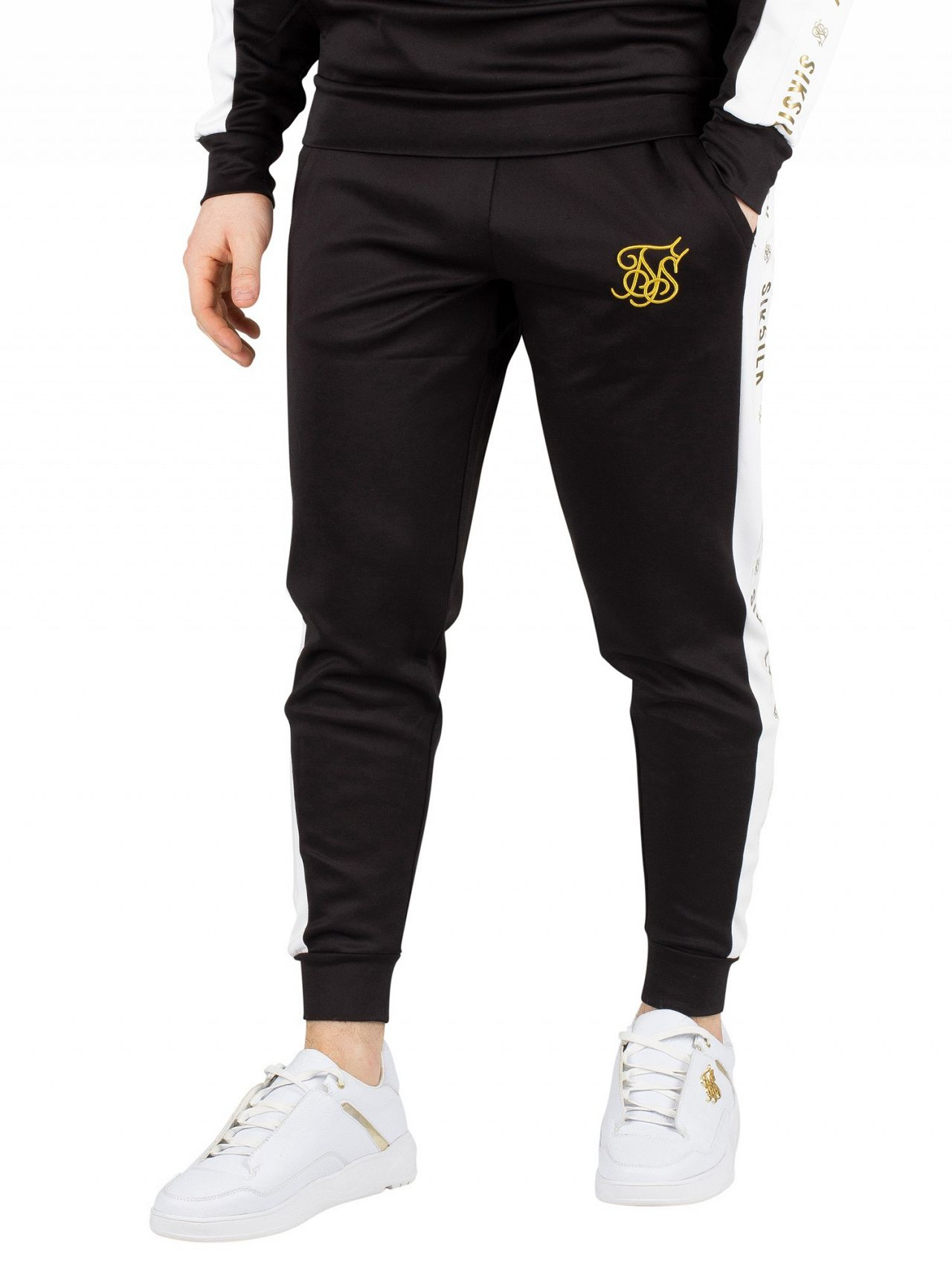 Sik Silk Black White Gold Racer Cuffed Taped Joggers  4d96b765bb7b