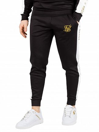 Sik Silk Black/White/Gold Racer Cuffed Taped Joggers