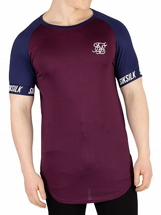 Sik Silk Navy/Burgundy Raglan Tech T-Shirt