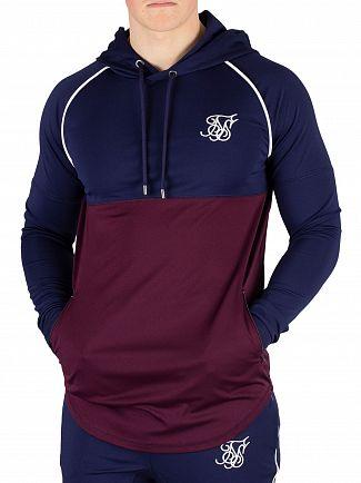 Sik Silk Burgundy/Navy Zonal Pullover Hoodie