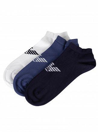 Emporio Armani White/Black/Navy 3 Pack Inside Socks