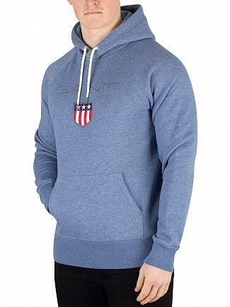 Gant Denim Blue Melange Shield Pullover Hoodie