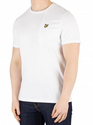 Lyle & Scott White Fabric Mix T-Shirt