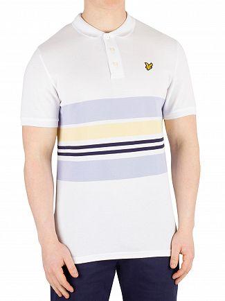 Lyle & Scott White Pique Stripe Poloshirt