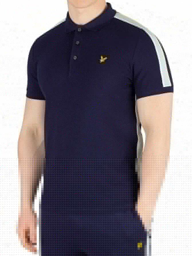 Lyle & Scott Navy Side Stripe Poloshirt