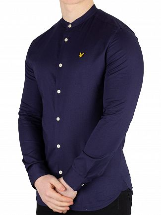 Lyle & Scott Navy Slim Fit Grandad Collar Shirt