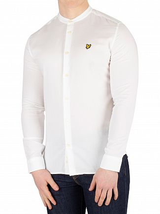 Lyle & Scott White Slim Fit Grandad Collar Shirt