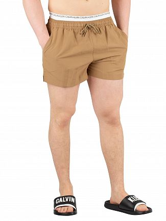 Calvin Klein Petrified Oak Short Double Waistband Swim Shorts