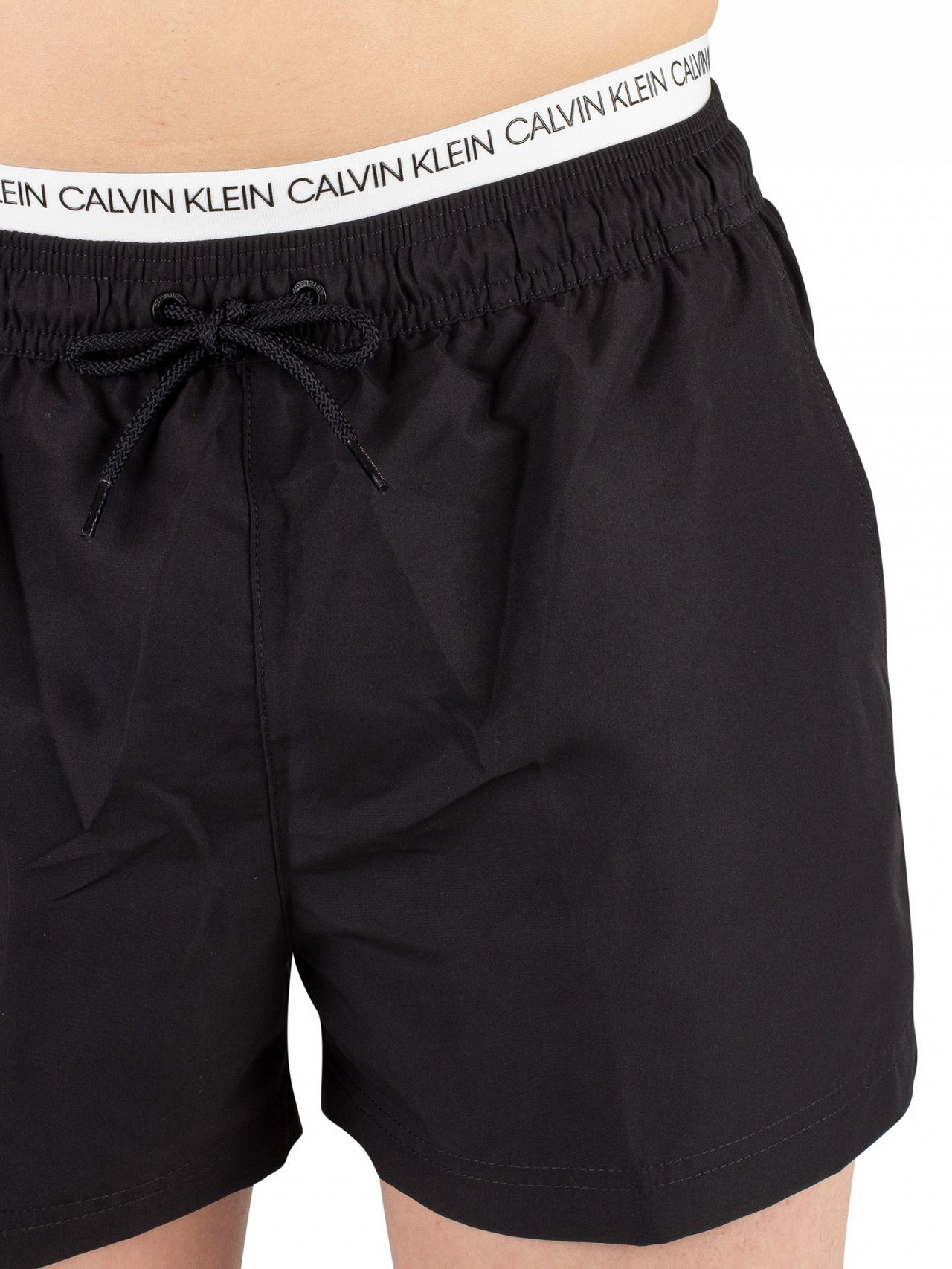 9f57df35a9 Calvin Klein Black Short Double Waistband Swim Shorts | Standout