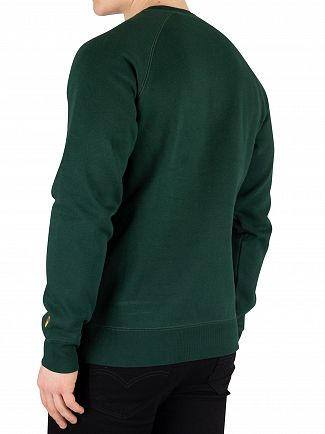 Carhartt WIP Bottle Green/Gold Chase Sweatshirt