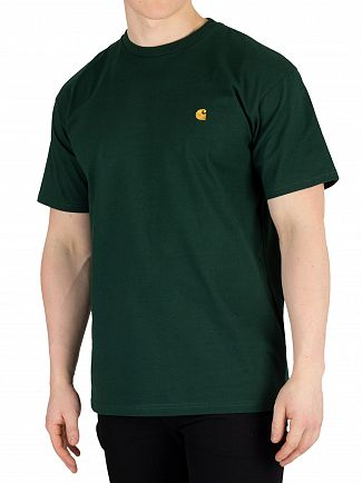 Carhartt WIP Bottle Green/Gold Chase T-Shirt