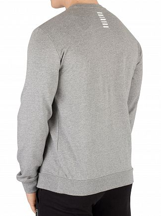 EA7 Medium Grey Melange Chest Logo Sweatshirt
