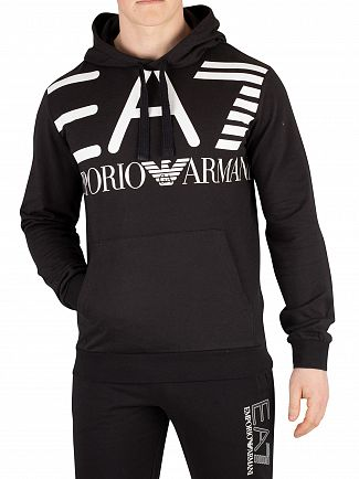 EA7 Black Graphic Pullover Hoodie