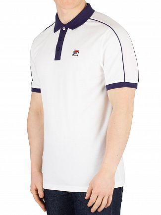 Fila Vintage White/Peacoat Klein Contrast Collar Poloshirt