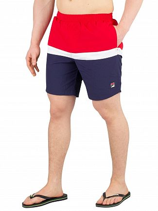 Fila Vintage Chinese Red Peter Colour Block Swimshorts
