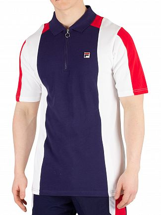 Fila Peacoat/White/Red Zeppelin Zip Poloshirt