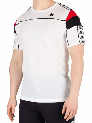 Kappa White/Red/Black Arar 222 Banda Slim T-Shirt